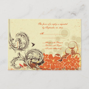 Convites flor laranja 9 13 zazzle carto floral alaranjado afligido vintage do rsvp reheart Choice Image