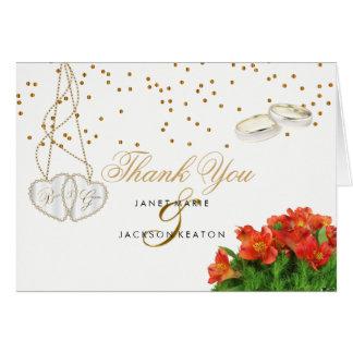 Cartão Floral alaranjado brilhante - obrigado