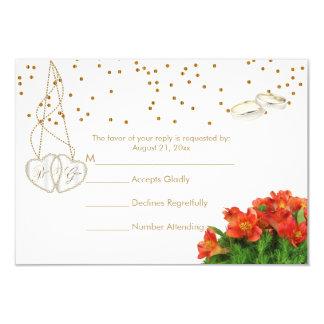 Cartão Floral alaranjado brilhante - RSVP Wedding