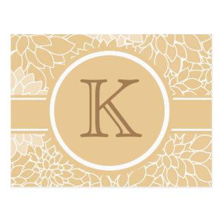 Cartão floral amarelo e branco do monograma