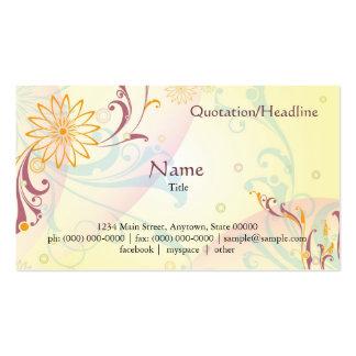 Cartão floral amarelo Pastel Cartão De Visita