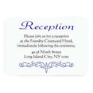 Cartão floral azul & branco do vintage da recepção convite 8.89 x 12.7cm