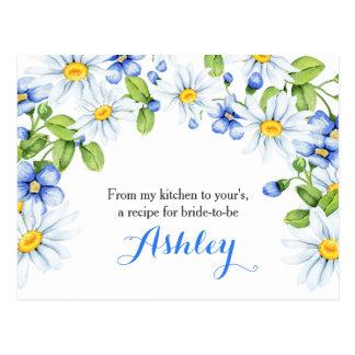 Cartão floral azul da receita da margarida branca