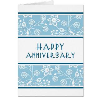 Cartão floral azul do aniversário do empregado