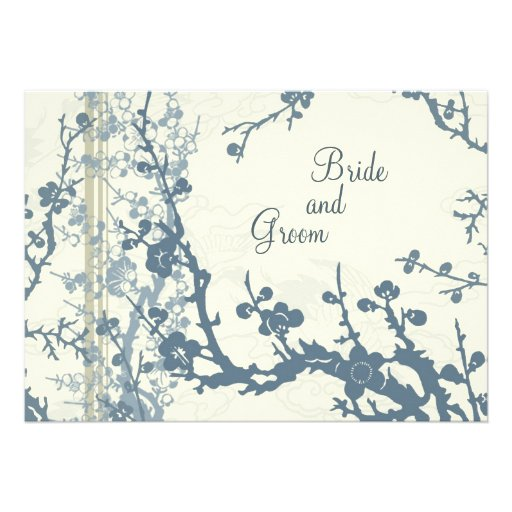 Cartão floral azul do convite do casamento