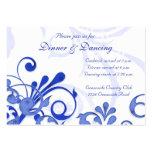 Cartão floral azul e branco da recepção de cartão de visita grande