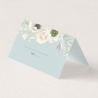 Cartão floral branco do lugar do casamento do