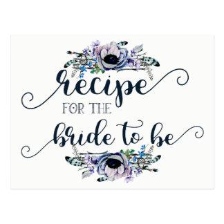 Cartão floral chique da receita da noiva da