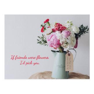 Cartão Postal Cartão floral cor-de-rosa da variedade