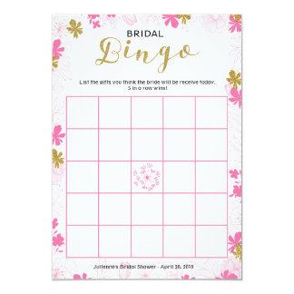 Cartão Floral cor-de-rosa delicado do Bingo | do jogo do