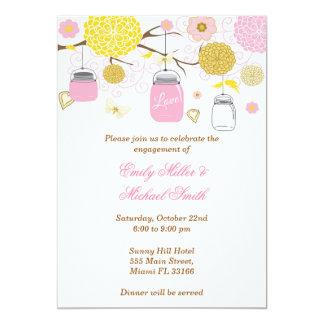Cartão floral cor-de-rosa do convite do noivado