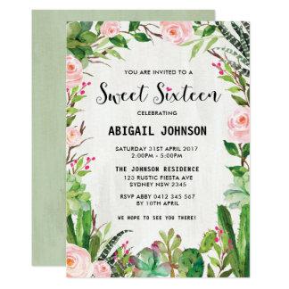 Cartão Floral cor-de-rosa do doce dezesseis dos