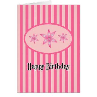 Cartão floral cor-de-rosa do feliz aniversario