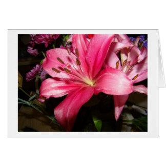 Cartão Floral cor-de-rosa, obrigado
