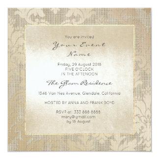 Cartão Floral cremoso Titanium do ouro do damasco quadro