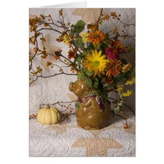 Cartão floral da acção de graças do jarro de 4603