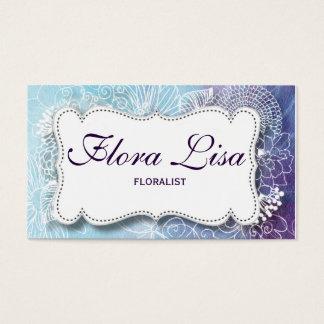 Cartão floral da aguarela azul e roxa