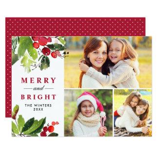 Cartão Cartão floral da colagem da foto da aguarela do
