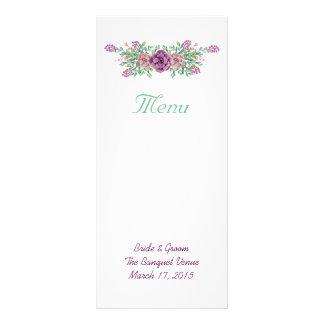Cartão floral da cremalheira do menu do casamento
