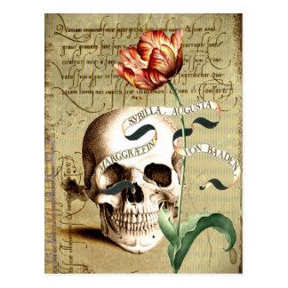 Cartão floral da escrita do crânio de Steampunk