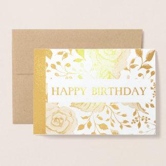 cartão floral da folha de ouro do feliz