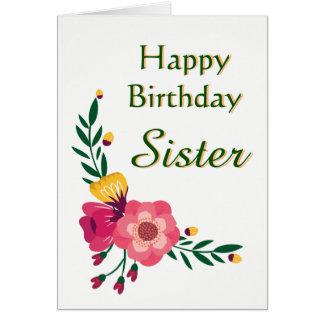 Cartão floral da irmã do feliz aniversario