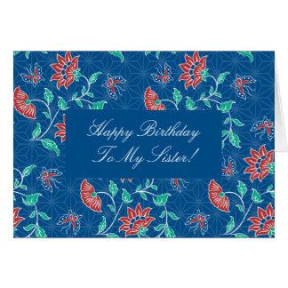 Cartão floral da irmã do feliz aniversario do