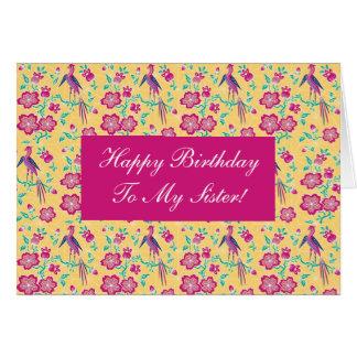 Cartão floral da irmã do feliz aniversario do Bati