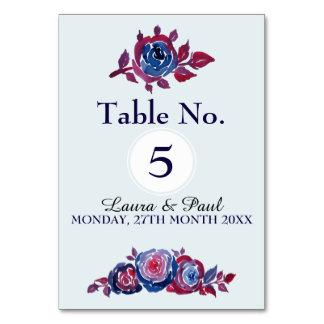 Cartão floral da mesa da tinta do azul & do