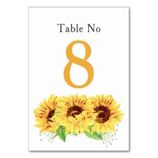 Cartão floral da mesa do casamento do girassol