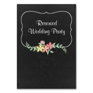 Cartão floral da mesa do casamento do olhar do