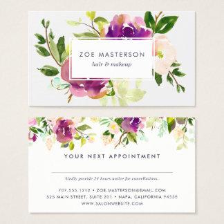 Cartão floral da nomeação da aguarela vibrante da