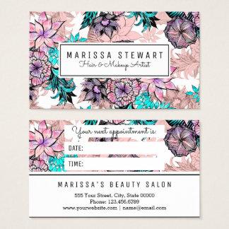 Cartão floral da nomeação do ouro cor-de-rosa