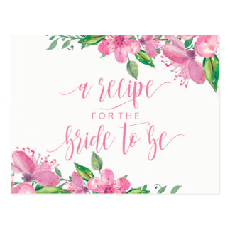 Cartão floral da receita do chá de panela da