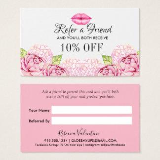 Cartão floral da referência do negócio da beleza