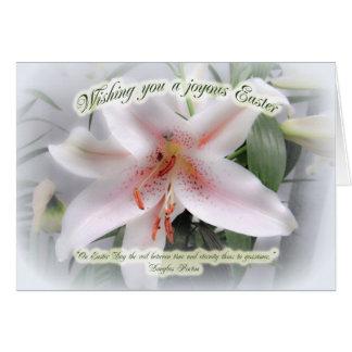Cartão floral de cumprimento do lírio branco da