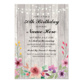 Cartão Floral de madeira rústico da festa de aniversário