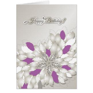 Cartão floral de prata do feliz aniversario dos