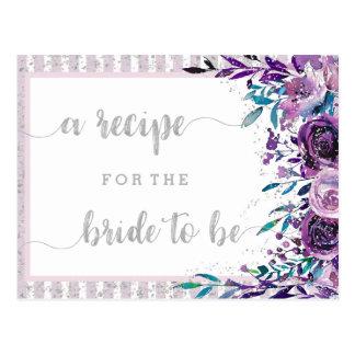 Cartão floral & de prata roxo da receita do chá de
