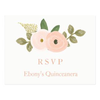 Cartão floral de Quinceanera RSVP da aguarela do