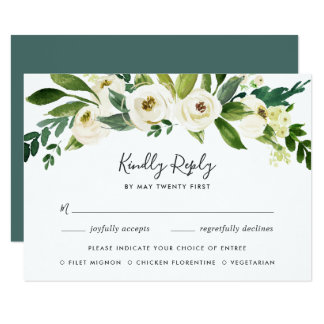 Cartão Cartão floral do alabastro RSVP com escolha da