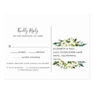 Cartão Postal Cartão floral do alabastro RSVP com escolha da