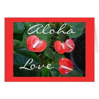 Cartão floral do amor customizável do antúrio