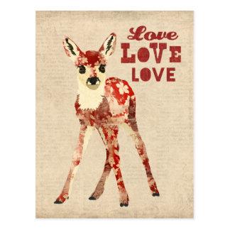 Cartão floral do amor da jovem corça cartoes postais