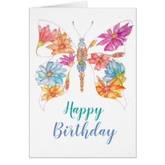 Cartão floral do aniversário da borboleta