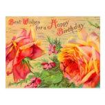Cartão floral do aniversário do vintage cartão postal