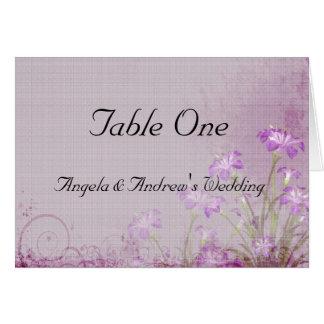 Cartão floral do assento da mesa da lavanda