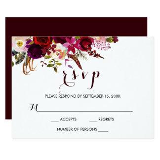 Cartão floral do casamento outono RSVP da aguarela