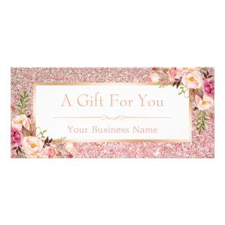 Cartão floral do certificado de presente do brilho