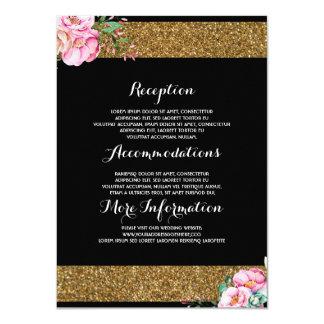 Cartão floral do convidado da informação do